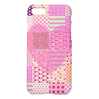 Romantic Country Style Pink Patchwork Heart Design iPhone 7 Case