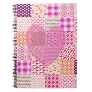 Romantic Country Style Pink Patchwork Heart Design Notebook
