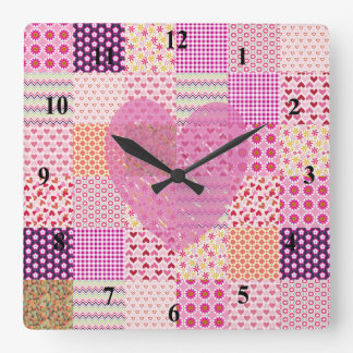 Romantic Country Style Pink Patchwork Heart Design Square Wall Clock
