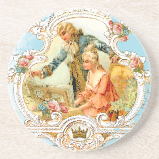 Romantic couple 18th Century Music Coaster