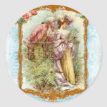 Romantic Couple French Regency Style Round Sticker