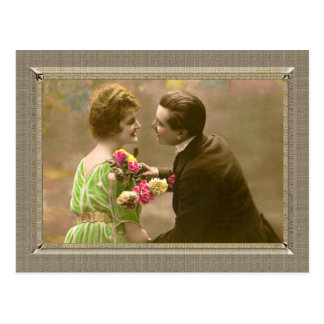 Romantic Couple - give me a kiss Postcard