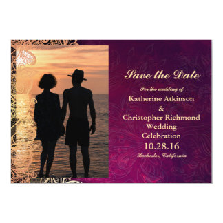 Romantic Couple Holding Hands at Su/purple vintage 13 Cm X 18 Cm Invitation Card