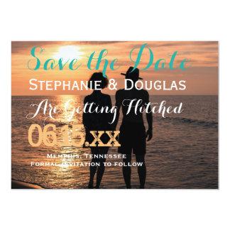Romantic Couple Holding Hands at Sunset/ 13 Cm X 18 Cm Invitation Card