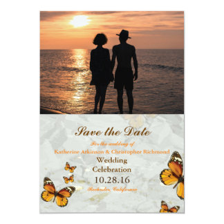 Romantic Couple Holding Hands at Sunset/butterfly 13 Cm X 18 Cm Invitation Card