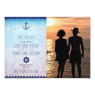 Romantic Couple Holding Hands at Sunset/nautic 13 Cm X 18 Cm Invitation Card