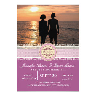 Romantic Couple Holding Hands at Sunset/pink theme 13 Cm X 18 Cm Invitation Card