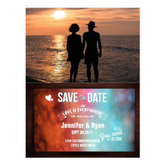 Romantic Couple Holding Hands at Sunset Postcard