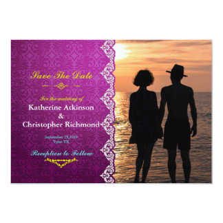 Romantic Couple Holding Hands at Sunset/purple 13 Cm X 18 Cm Invitation Card
