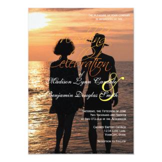 Romantic Couple Holding Hands at Sunset/Wedding 11 Cm X 16 Cm Invitation Card