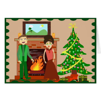 Romantic Couple Holiday Greeting Card