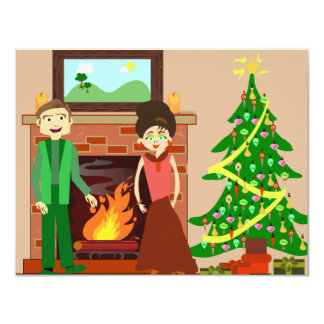 "Romantic Couple Holiday 4.25"" X 5.5"" Invitation Card"