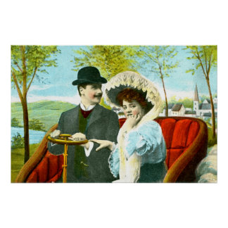 Romantic couple in a vintage scene posters