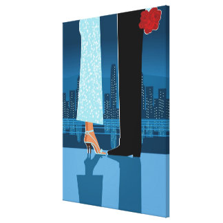 Romantic Couple in City Stretched Canvas Prints