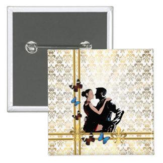 Romantic couple on white damask 15 cm square badge
