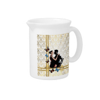 Romantic couple on white damask pitcher