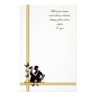 Romantic couple on white damask stationery