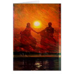 Romantic Couple ride into the sunset on horseback Greeting Card