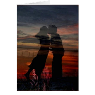 Romantic Couple Sunset lovers Greeting Card Art