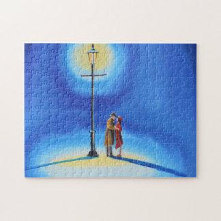 Romantic couple under a street lamp puzzles