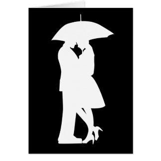 Romantic Couple Under Umbrella Card