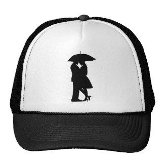 Romantic Couple Under Umbrella Hat