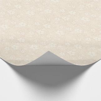 Romantic Cream Flowers Pattern Gift Wrap Paper