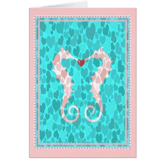 Romantic Cute Seahorse Couple Love Hearts Card