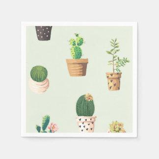 Romantic Cute succulent cactus on mint background Paper Napkins