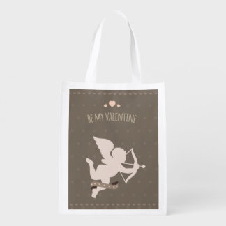 Romantic Cute Valentines Day cupid Reusable Grocery Bags