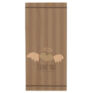 Romantic cute vintage Valentines day heart Wood USB 2.0 Flash Drive