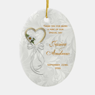 Romantic Daisy, Gold Heart & White Ribbon Christmas Ornament