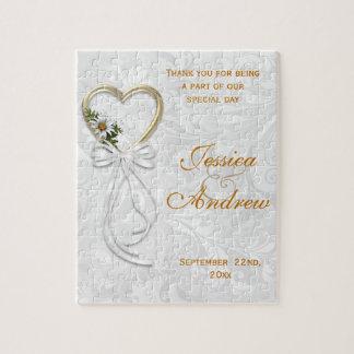 Romantic Daisy, Gold Heart & White Ribbon Puzzles