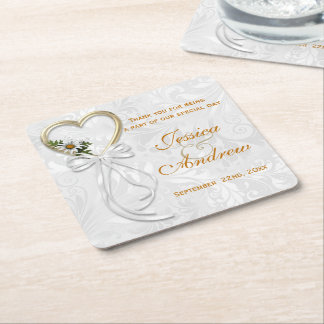 Romantic Daisy, Gold Heart & White Ribbon Square Paper Coaster