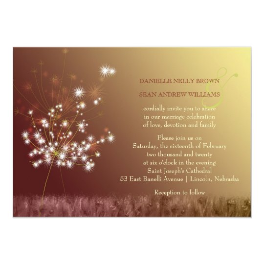 Romantic Dandelion Garden Wedding Card