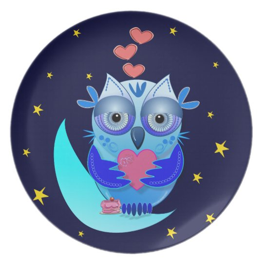 Romantic decorative plate with Cartoon owl in Love