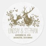Romantic deer wedding stickers