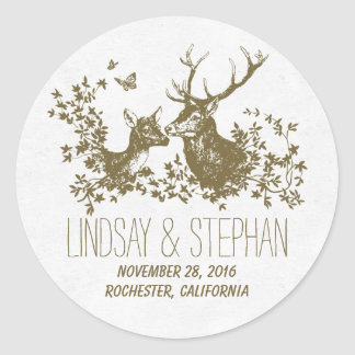 Romantic deer wedding stickers