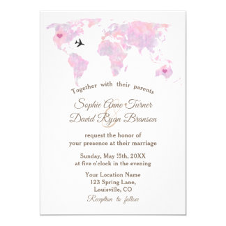 Romantic Destination Wedding Watercolor World Map Card