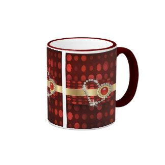 Romantic diamond heart ringer mug