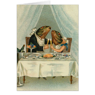 """Romantic Dinner for Frogs"" Vintage Card"