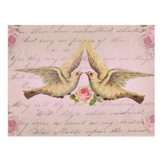 Romantic Doves in Love Vintage Collage Postcard