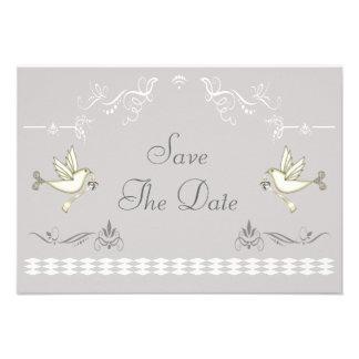 Romantic Doves Save The Date Custom Announcement