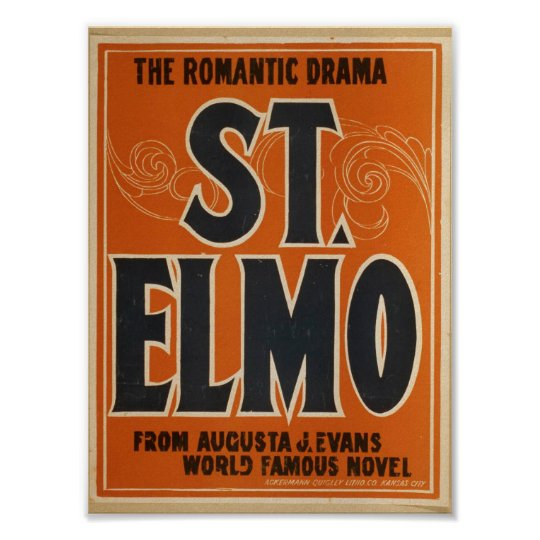 Romantic drama, 'St. Elmo' Vintage Theatre Poster