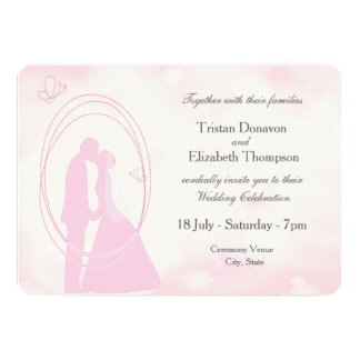 "Romantic Dreamy Pink Wedding Couple Wedding Invite 5"" X 7"" Invitation Card"