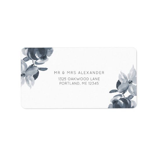 Romantic Dusty Blue Floral Wedding Return Label