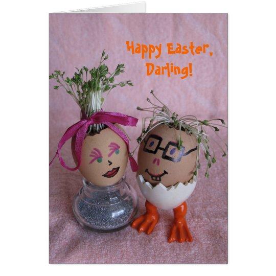 Romantic Easter Eggmen Couple Eggs with Hair Serie Card