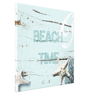 Romantic Elegant blue Seashell Beach decor Canvas Print