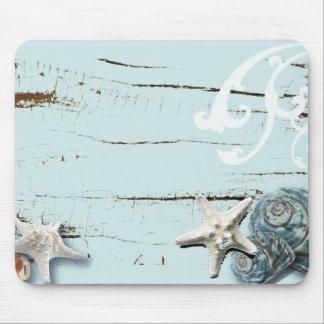 Romantic Elegant blue Seashell Beach girl fashion Mouse Pad