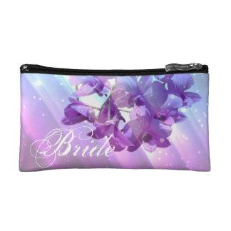 romantic elegant  glamour purple orchid bride cosmetic bags
